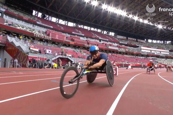 Jeux Paralympique,s Pierre Fairbank, aux séries du 400 mètres fauteuil T53, le 29 août à Tokyo.