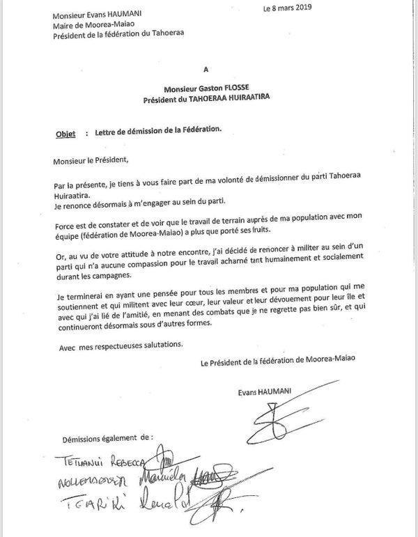 Lettre de démission de Evans Haumani