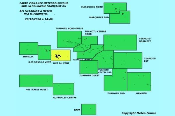 Vigilance jaune pour les Îles du Vent - 26/12/2020