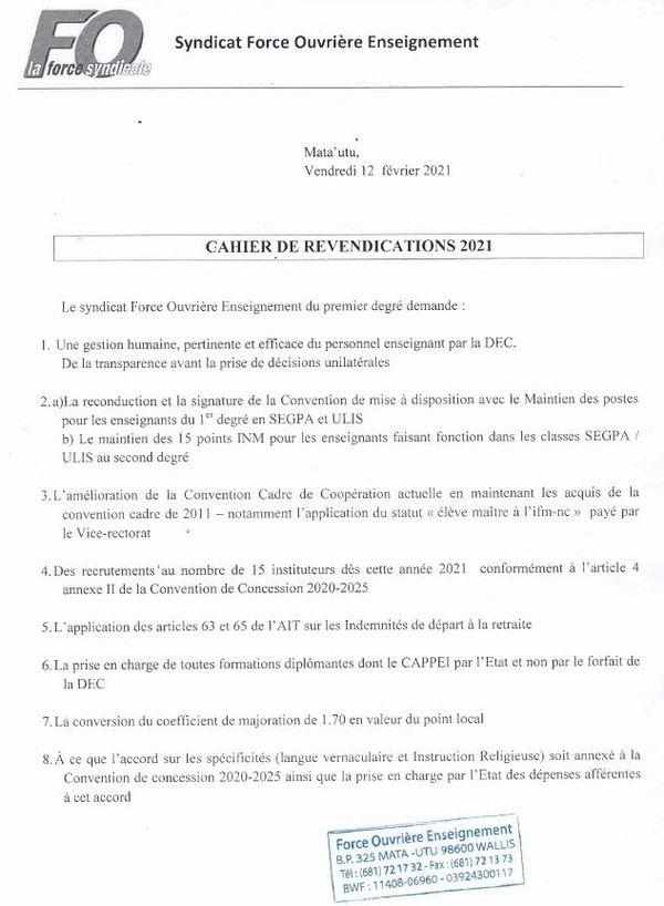 revendications FO Enseignement février 2021