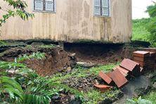 Maison endommagée dans le nord atlantique (Martinique) après les intempéries de novembre 2020.