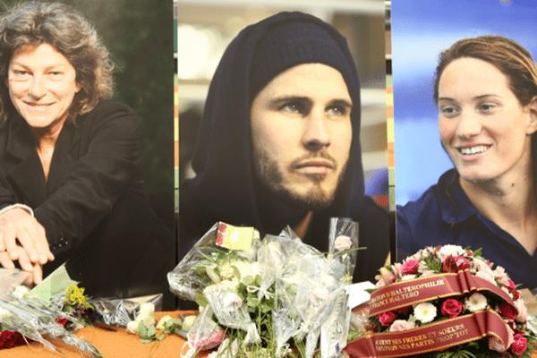 Les visages de Florence Arthaud, Alexis Vastine et Camille Muffat