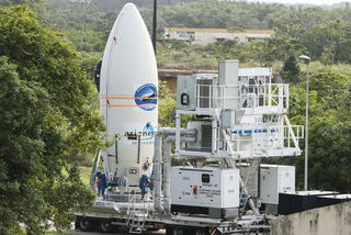 Le transfert de coiffe de la fusée Ariane 5