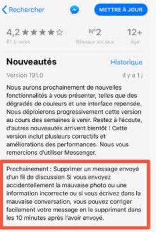 Vous allez désormais avoir dix minutes pour supprimer un message sur Messenger