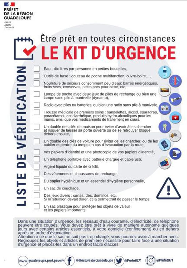 Chek List Kit d'urgence