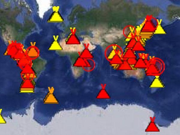 Carte des volcan en activité le 28 mai 2018
