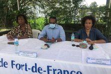 Annie Chandey, chargée de la culture, Didier Laguerre, maire de Fort-de-France et Sarita  Smith-Fanfant, présidente de l'association les Sirez.