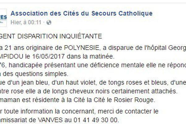 Une jeune polynésienne disparaît de l'hôpital Georges Pompidou