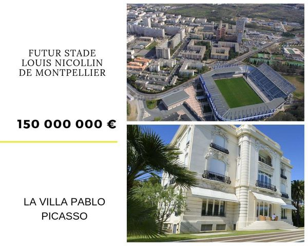 La villa Pablo Picasso et le futur stade Louis Nicollin de Montpellier à 150 millions euros