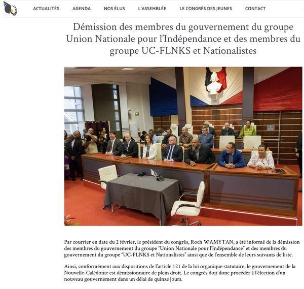 Chute du 16e gouvernement de la Nouvelle-Calédonie : publication du congrès NC