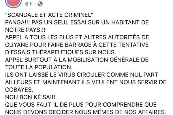 La page Facebook de Jean-Victor Castor