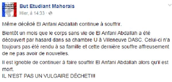 La famille du jeune étudiant mahorais n'a toujours pas récupéré le corps d'Abdallah El Anfani.