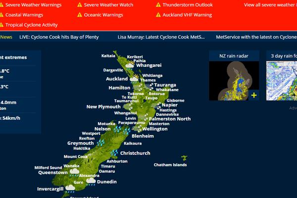 NZ alerte météo cook