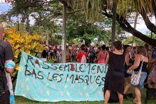 300 personnes manifestent devant la mairie de Saint-Pierre