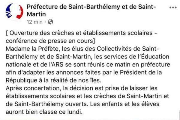 Décision préfecture de SXM