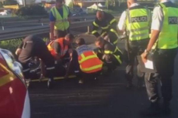 Accident moto Tampon