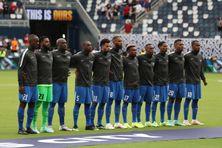 L'équipe de la Martinique le 11 juillet 2021 avant le 1er match face au Canada.
