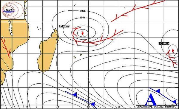 Carte de pression à la surface de l'océan Indien 18 janvier 2021