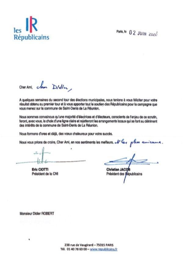 la lettre de soutien des Républicains à Didier Robert