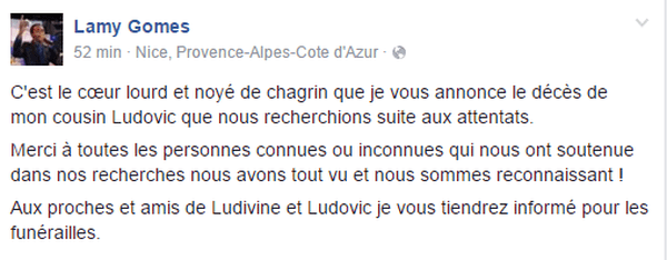 Lamy Gomes annonce le décès de son cousin attentats de Nice