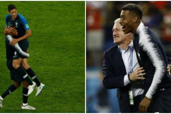 Presnel Kimpembé avec Raphaël Varane et Didier Deschamps - France-Belgique - Mondial 2018 en Russie