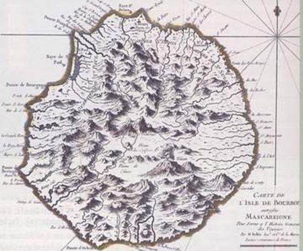 Carte de La Réunion au 18ème siècle