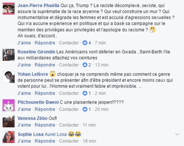 réaction élection Trump facebook La1ère