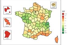 Incidence du cancer du col de l'utérus dans l'Hexagone (2007-2016), en Guadeloupe (2008-2014), Martinique (2007-2014) et Guyane (2010-2014) ; la référence est le taux pour la France hexagonale (1).