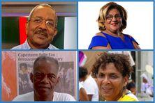 en haut, de gauche à droite : Lucien Saliber, président de l'Assemblée de Martinique, Catherine Conconne, conseillère territoriale. en bas, de gauche à droite : Luc Reinette, militant indépendantiste Guadeloupe, Rita Bonheur, Union des femmes de Martinique