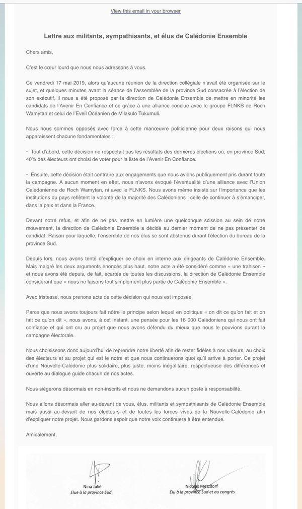 Lettre aux militants, sympathisants, et élus de Calédonie Ensemble