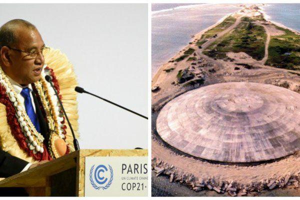 Le président des Iles Marshall Christopher J. Loeak et le dôme de l'île Runit (43 essais nucléaires)