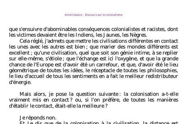 Extrait du Discours sur le colonialisme 2