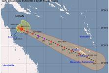 L'actuelle prévision de trajectoire par Météo-France NC voit Niran longer la Calédonie par l'Ouest et passer près de Nouméa.