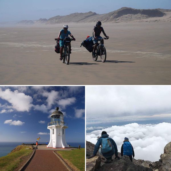 Fabien a profité des paysages néo-zélandais. En haut: la Ninety Mile Beach, en bas à gauche, le Cap Reinga, en bas à droite durant l'ascension du Taranaki