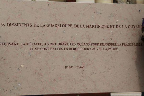 A l'Hôtel des invalides, la plaque commémorative dédiée aux dissidents des Antilles et de la Guyane