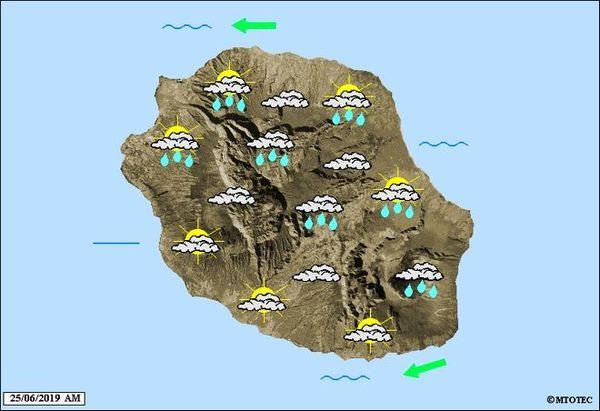 Carte météo pour la matinée du 25 juin 2019