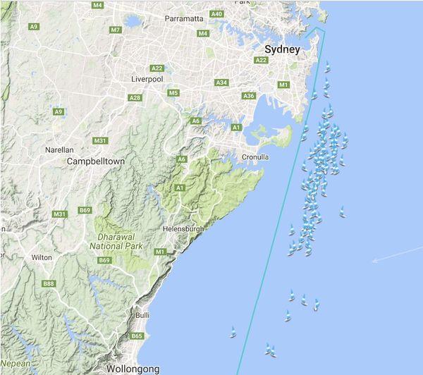 Sydney-Hobart, carte du parcours en temps réel.