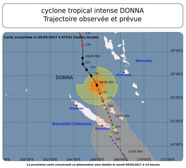 Trajectoire cyclone Donna mardi 9 mai 7h31