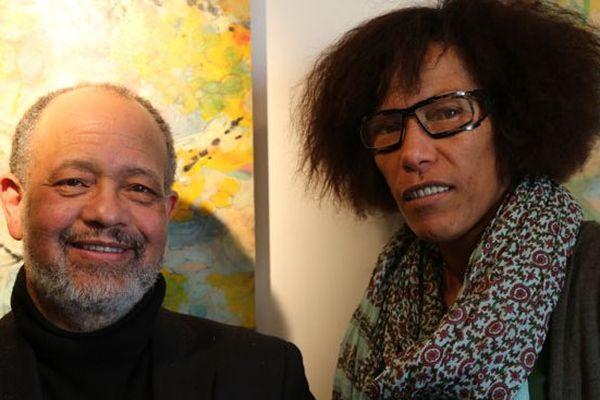 Octave Cestor et Maguy Salomon, seule candidate ultramarine de la liste PS, à Nantes le 14/01/13