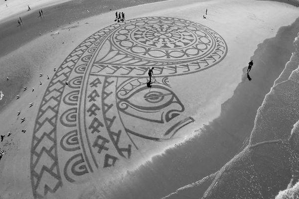 Dessin Dutch beach art