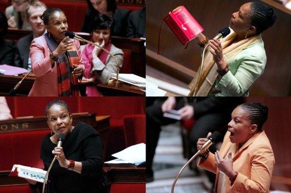 Christiane Taubira à l'Assemblée pendant les débats législatifs sur le mariage pour tous