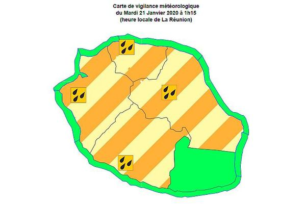 Carte de vigilance fortes pluies 21 janvier 2020
