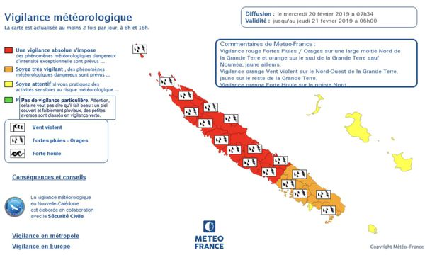 Carte vigilance météo 20 février