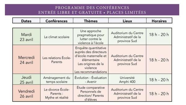 Semaine des parents à l'école Conférences