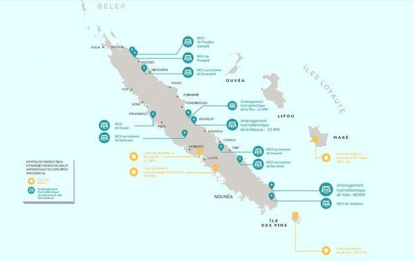 Carte des moyens de productions d'énergies renouvelables appartenants et opérés par Enercal