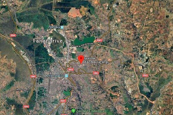 Carte d'Antananarivo, marché d'Andravoahangy