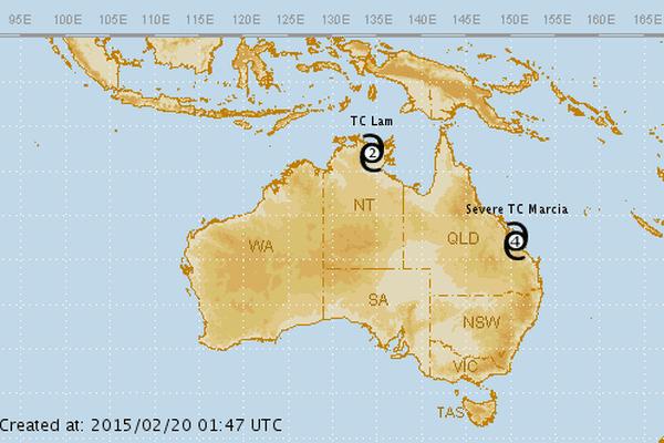 carte cyclone australie