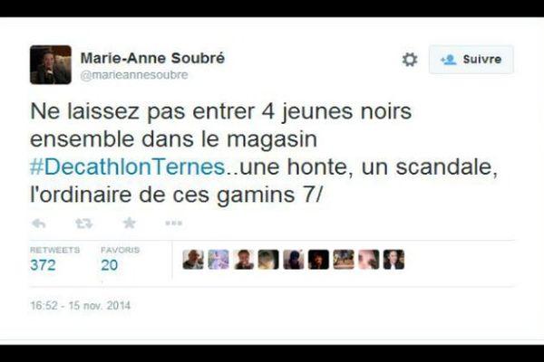 Tweet Marie-Anne Soubré / Discrimination Paris