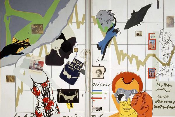 """""""Convergence"""", 1966 (acrylique, papiers collés et objets sur toiles, corde à sauter)"""