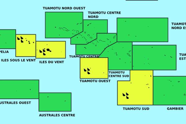 Les îles sous le vent, les îles du vent et une partie des Tuamotu toujours en vigilance jaune